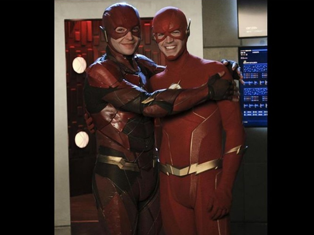 Ezra Miller (L) and Grant Gustin both recently appeared as their respective The Flash characters in