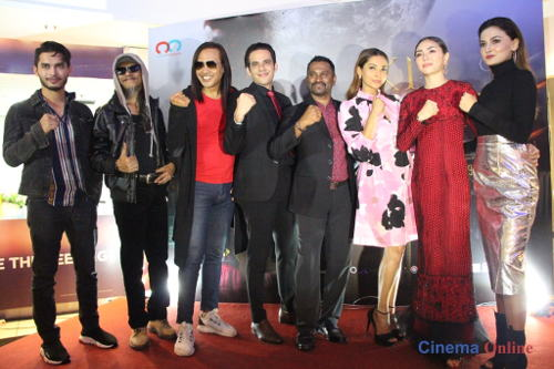 """Raja Ilya seen here with the cast and director (Daven R, middle) of """"KL Vampires""""."""