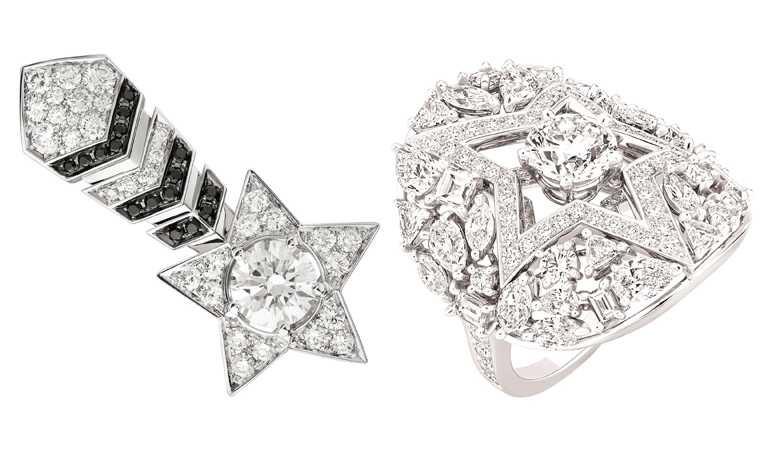 (左)CHANEL頂級珠寶「Comète」耳環,18K白金鑲嵌鑽石、黑色尖晶石╱1,393,000元;(右)「Etoile Filante」白金鑲鑽戒指╱4,297,000元。(圖╱CHANEL提供)