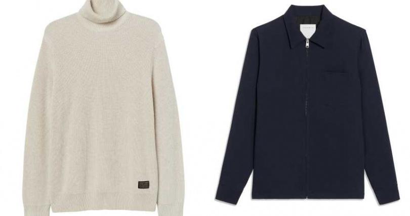左:H&M 全新假日系列男裝高領上衣/799元;右:Sandro Homme海軍藍外套/價格店洽(圖/品牌提供)