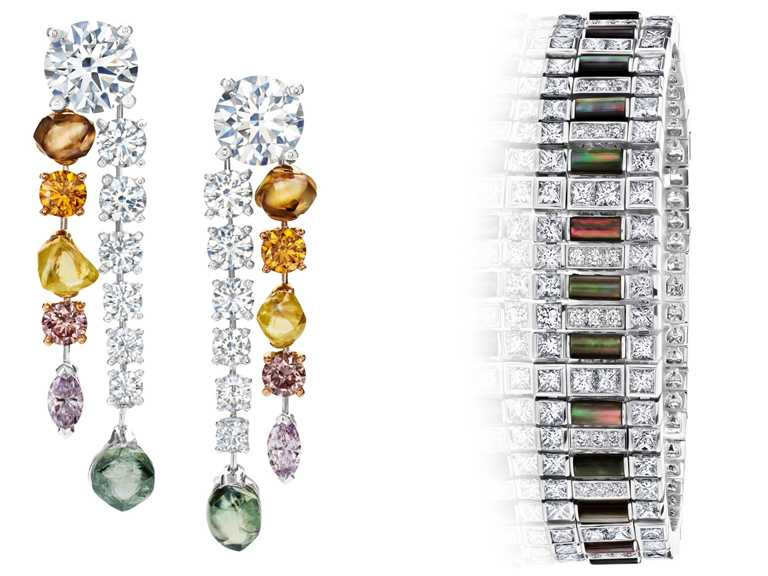 (左)DE BEERS「Diamond Legends」高級珠寶系列「Vulcan」鑽石珠寶耳環╱6,450,000元;(右)「Portraits of Nature」高級珠寶系列「Chapman's Zebra」鑽石手環╱6,950,000元。(圖╱DE BEERS提供)