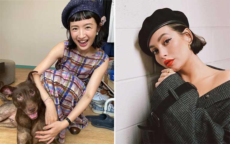 克服瀏海的尷尬期,除了使用造型品,簡單的短帽簷款式帽子也很合適。(圖/linyichen.ariellin IG,taylorlashae IG)