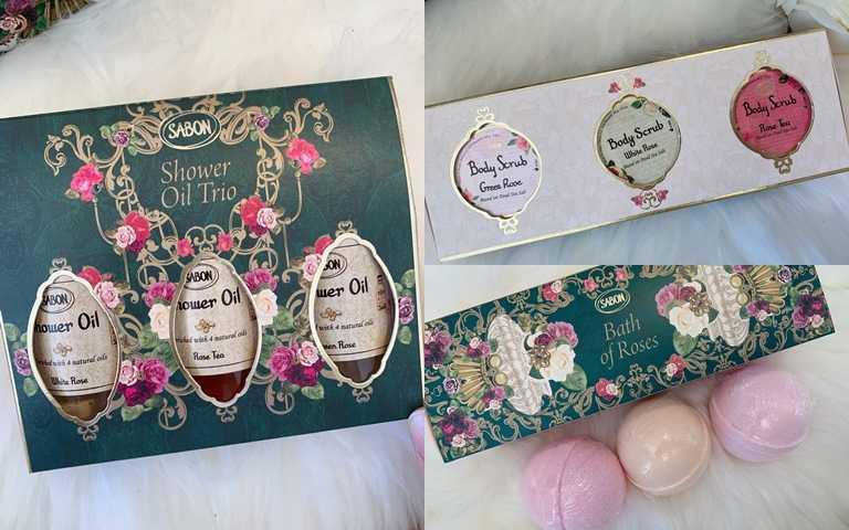 SABON玫瑰秘境迷你沐浴油禮盒/1,280元、SABON玫瑰秘境迷你磨砂膏禮盒/1,280元、SABON玫瑰秘境沐浴球禮盒/1,180元能一次擁有三種玫瑰香氣,再加上是適中小容量,拿來送人也很適合。(圖/吳雅鈴攝影)