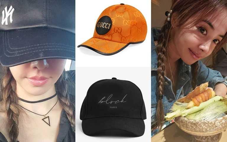 GUCCI Off The Grid亮橘棒球帽/11,900元、BLVCK 簽名標誌棒球帽/1,980元(圖/翻攝蔡依林IG)