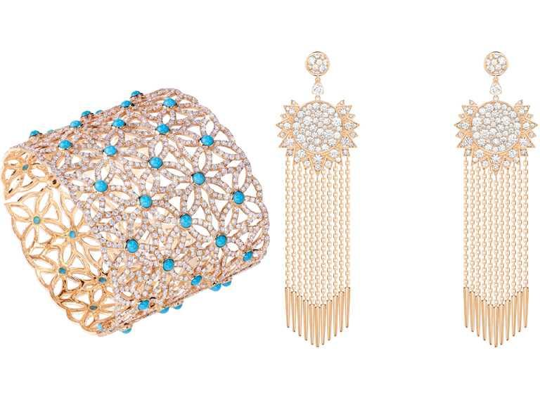 (左)PIAGET「Sunlight」系列高級珠寶鑽石耳環╱545,000元;(右)「Extremely Piaget」系列綠松石高級珠寶手鐲╱4,100,000元。(圖╱PIAGET提供)