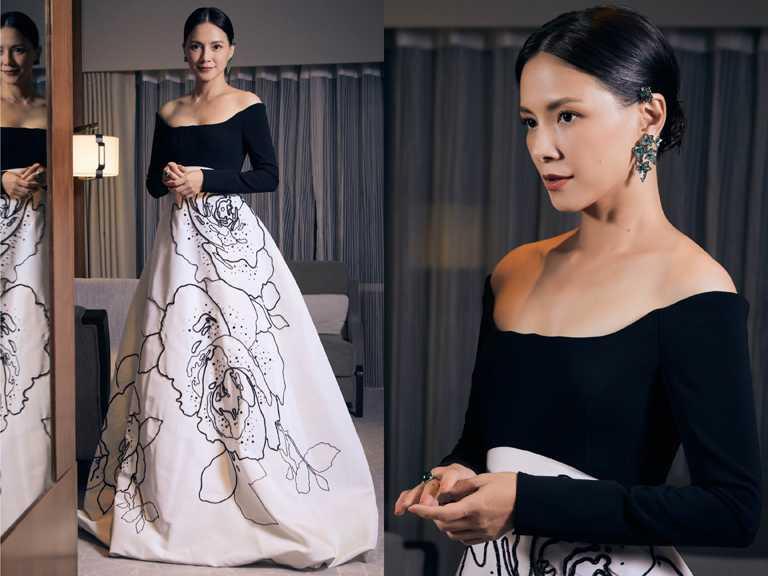金馬影后李心潔,身穿浪漫的黑白珠繡蓬裙,佩戴BOUCHERON「Lierre De Paris」常春藤耳環,盡顯優雅大器。(圖╱BOUCHERON提供)