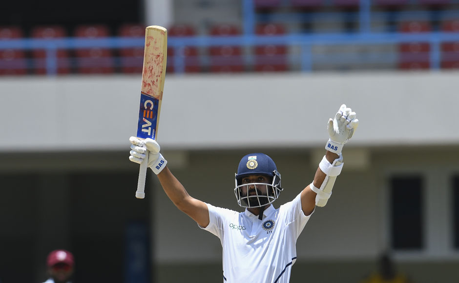 Ajinkya Rahane celebrates after scoring his 10th Test hundred on Day four of the first Test against West Indies in Antigua on Sunday. THis was Rahane's first Test ton since August 2017, as India declared at 343/7. Virat Kohli's men went onto win the first Test by 318 runs after bowling out the Windies for 100. AFP