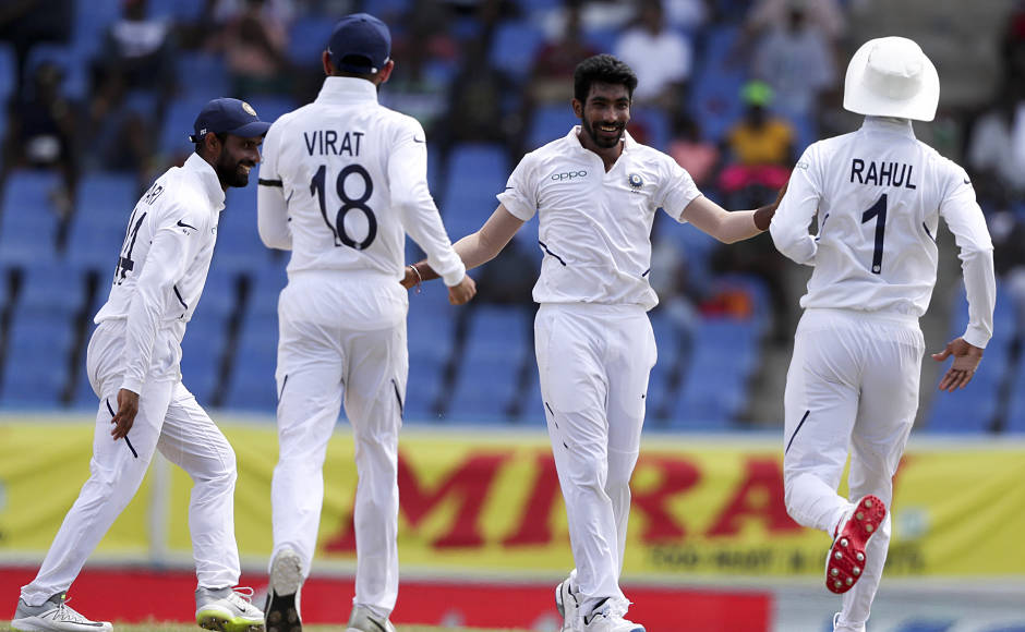 Jasprit Bumrah finished with impressive figures of 5-7 as India stormed to a 318-run win over West Indies in the first Test in Antigua on Sunday. AP