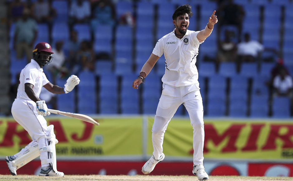 Ishant Sharma appeals for the wicket of Kemar Roach. Roach was the top scorer for the hosts in their second innings with 38 runs, as only three batsmen managed double figures. AP