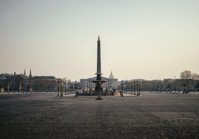 法國巴黎空無一人的協和廣場