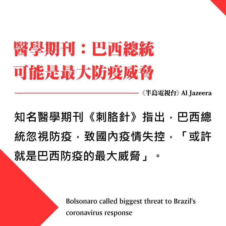 醫學期刊:巴西總統可能是最大防疫威脅。