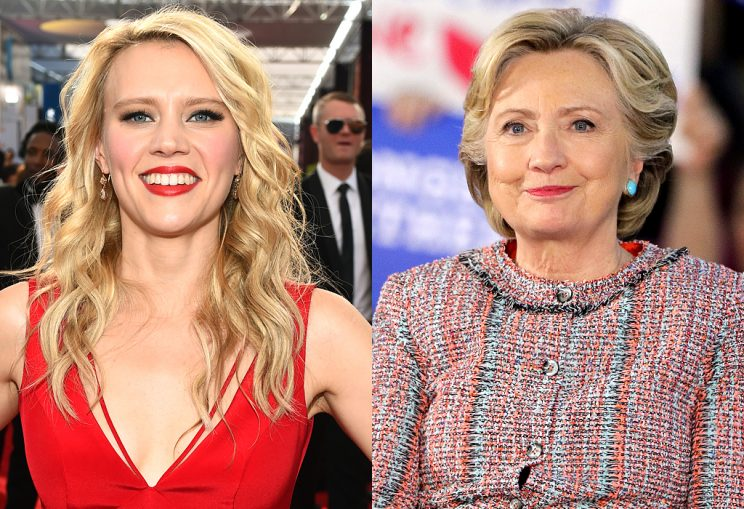 Two images: Kate McKinnon and Hillary Clinton
