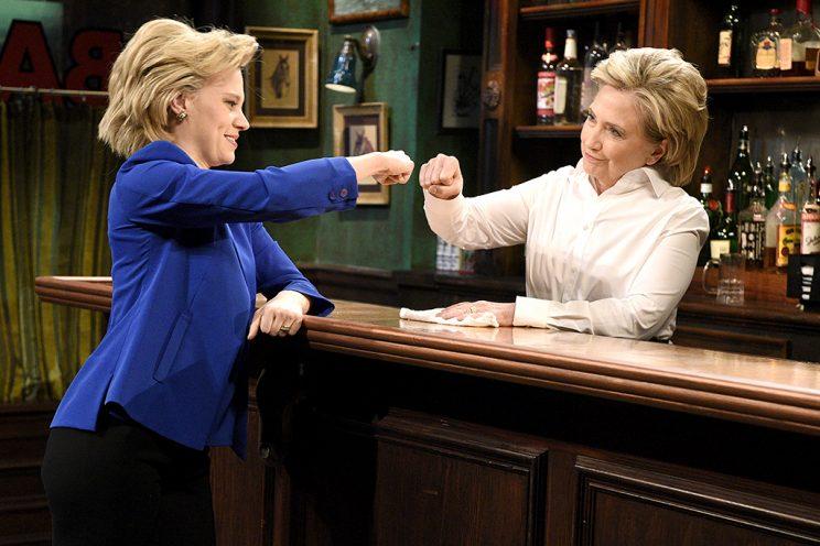 Kate McKinnon, as Hillary Clinton, with the real Hillary Clinton.