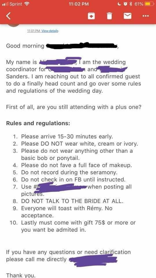 Bridezilla's list of wedding demands goes viral