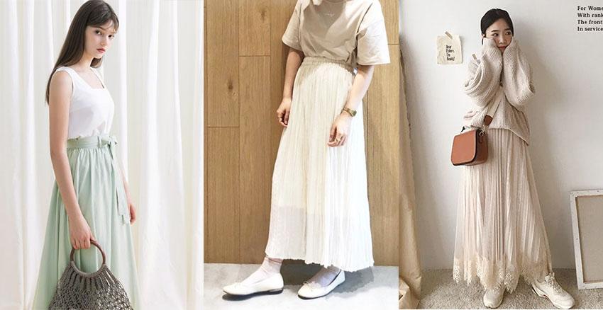 淡色上身+褶皺長裙|美周報