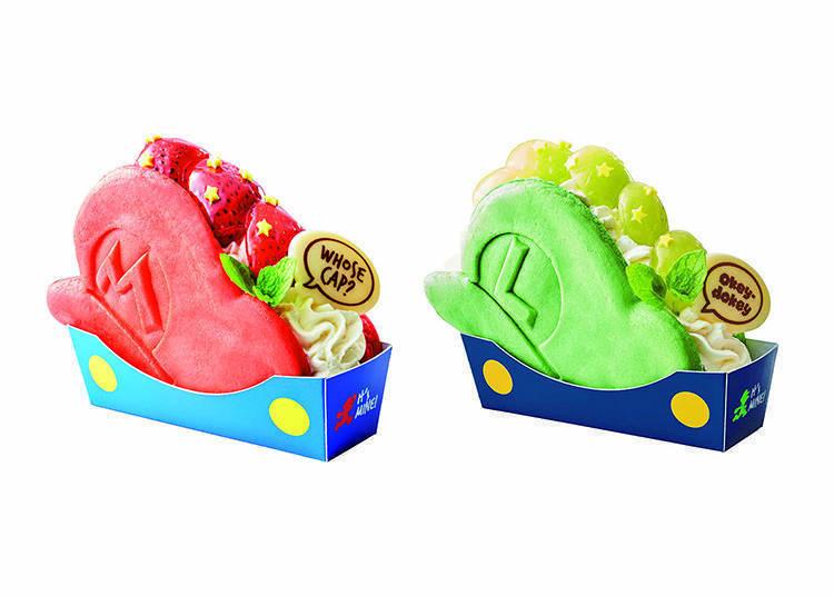 左/「鬆餅三明治 瑪利歐的帽子 ~草莓蛋糕~」 右/「鬆餅三明治 路易吉的帽子 ~葡萄起司蛋糕~」 圖片提供:日本環球影城(Universal Studios Japan)