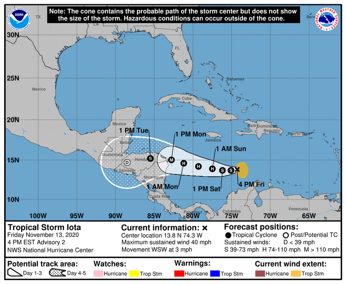 Tropical Storm Iota forms, continuing record-breaking season. Forecast to become hurricane