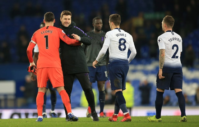 Pochettino celebrates with Tottenham goalkeeper Hugo Lloris, Harry Winks and Kieran Trippier during the Premier League match at Goodison Park in December 2018 (Peter Byrne/PA)