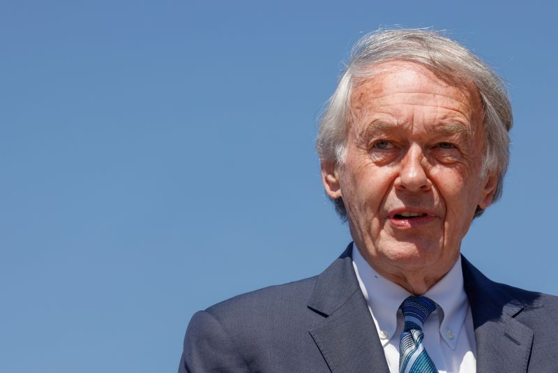 U.S. Senator Markey leads a news conference to re-introduce the Green New Deal at the U.S. Capitol in Washington