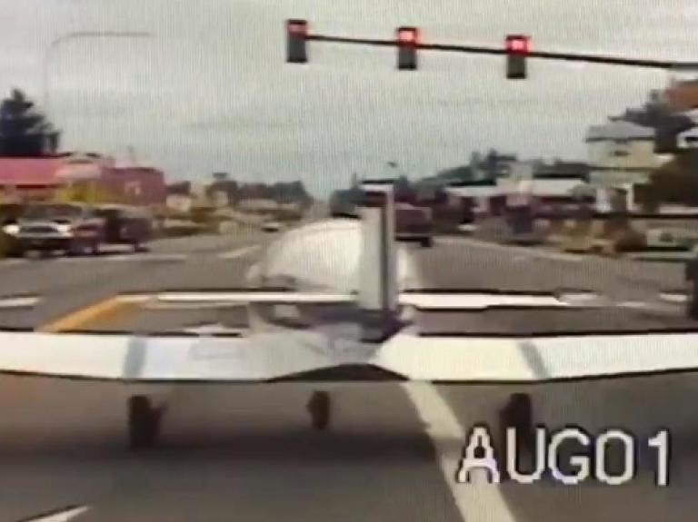 Plane makes emergency landing on busy US highway