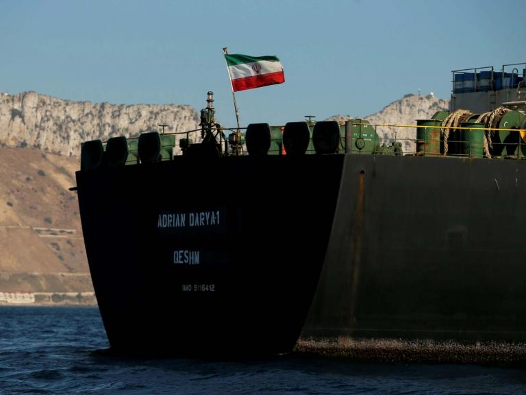 Detained Iranian tanker sets sail from Gibraltar as Tehran warns US not to seize ship