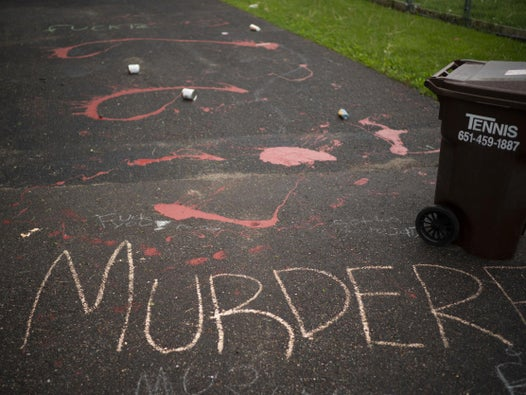 'A murderer lives here: Grafitti scrawled outside home of white police officer who knelt on neck of George Floyd