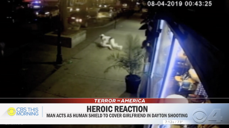 Dayton shooting: Man shields girlfriend from attack as Ohio gunman opens fire in unseen footage
