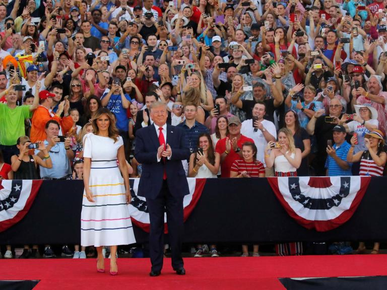 Trump news – live: President delivers July Fourth speech as protests and storms threaten to overshadow event
