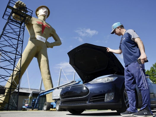 Tulsa unveils giant statue of Elon Musk to try and lure Tesla to the area
