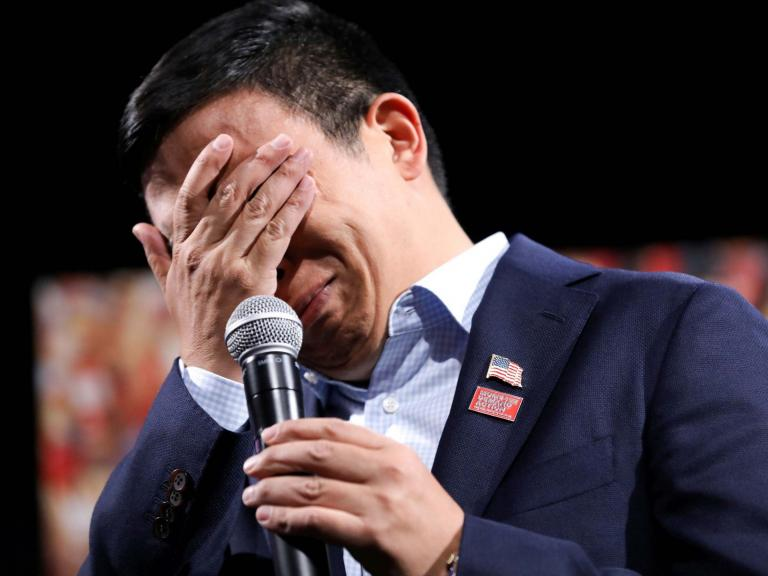 Andrew Yang breaks down in tears over gun violence as 2020 Democrats in Iowa call for action after El Paso shooting