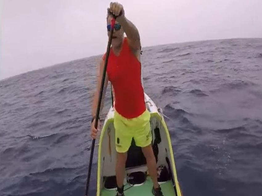 Man crosses 3,000 miles of Pacific Ocean by paddleboard and sees plastic pollution every day