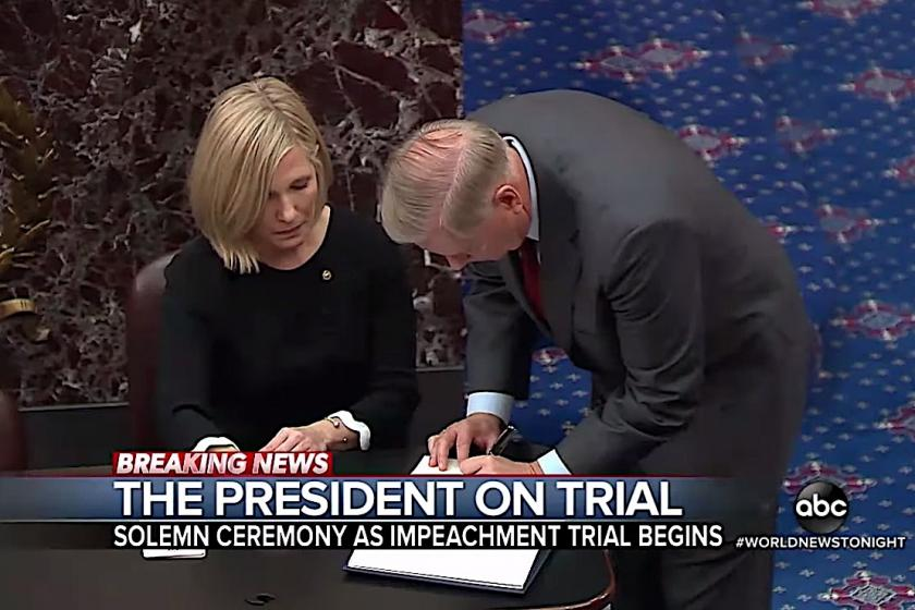 The start of Trumps impeachment trial had solemn oaths, lengthy yawns, pained expressions, lots of lefties