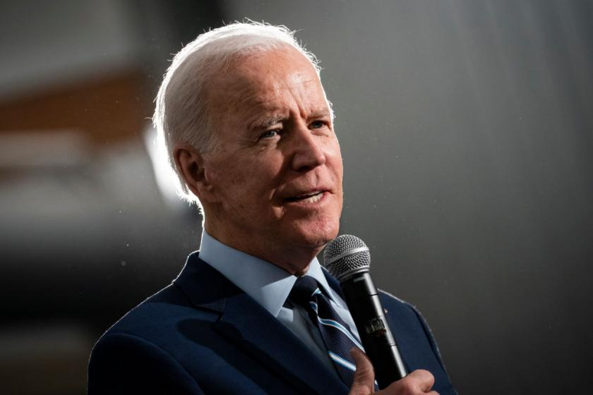 Joe Biden tells reporter to calm down after repeated questions about Bernie Sanders