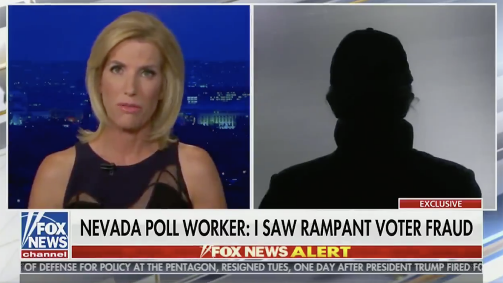Laura Ingraham dragged for interviewing anonymous poll worker claiming voter fraud