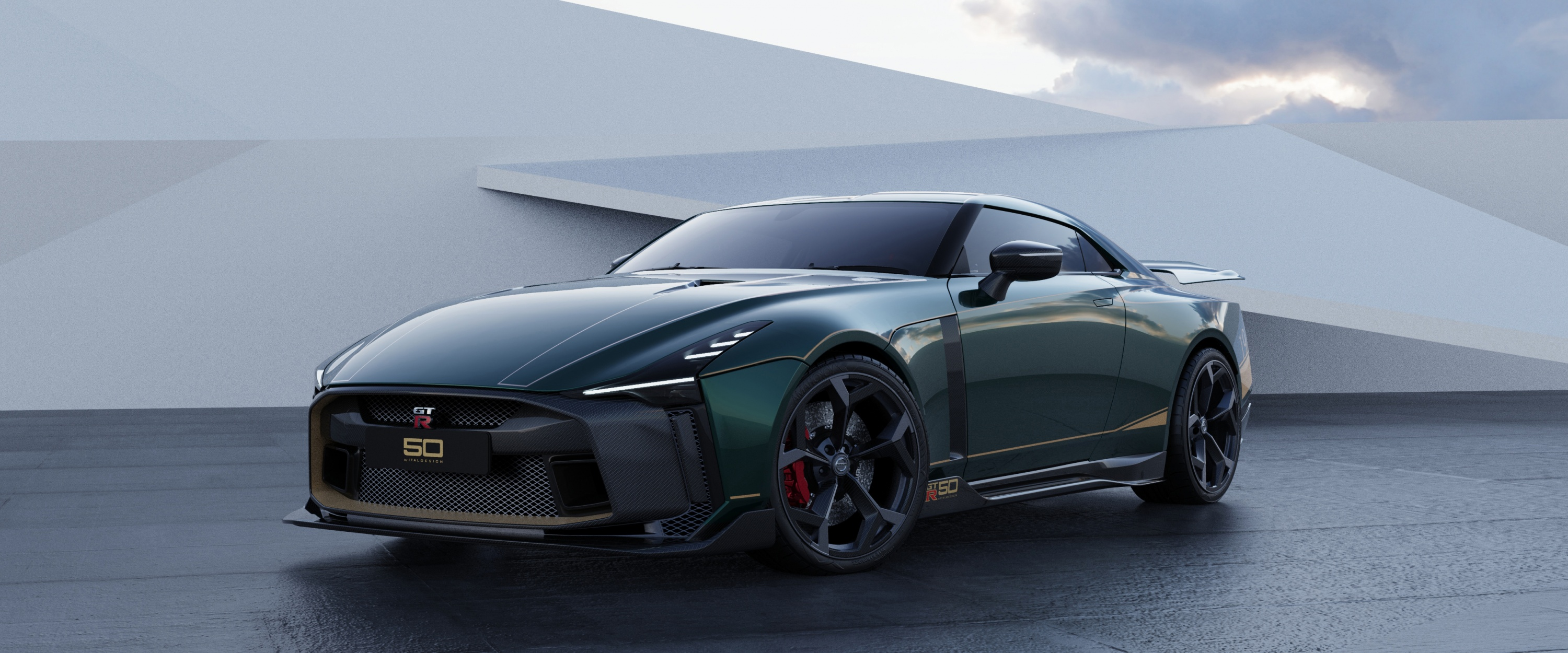 Nissan GT-R50 by Italdesign production rendering Green FR34-source.jpg