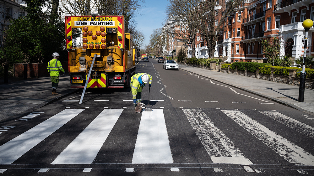 Iconic Beatles Abbey Road Crossing Gets a Fresh Coat of Paint Thanks to Coronavirus