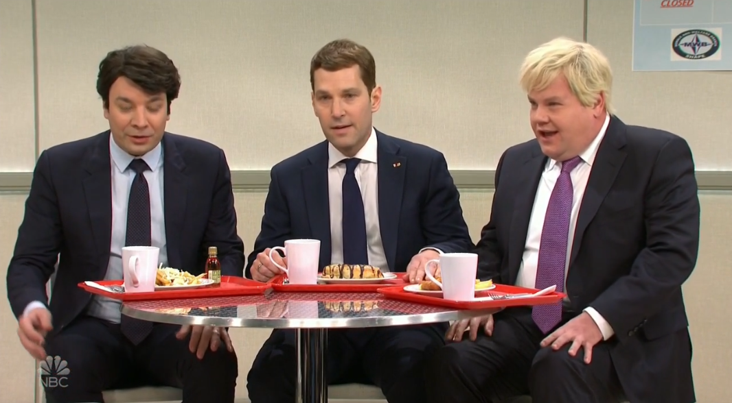'Saturday Night Live': Jimmy Fallon, Paul Rudd, James Corden Play 'Bad Boys' in NATO Cafeteria (Watch)