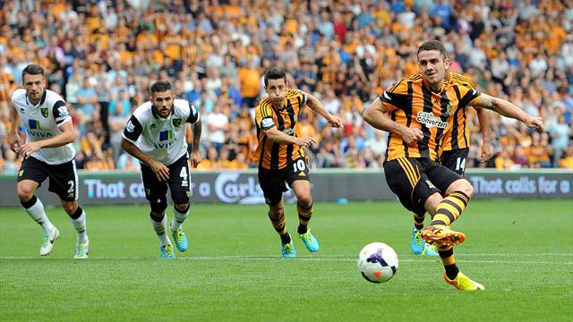 Premier League - Brady penalty sees ten-man Hull edge Norwich