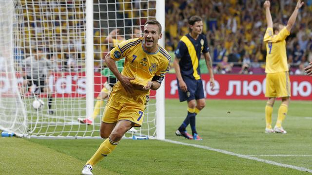 Shevchenko heads Ukraine to win
