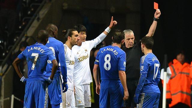 League Cup - Hazard sent off for kicking ball boy as Swansea reach Wembley