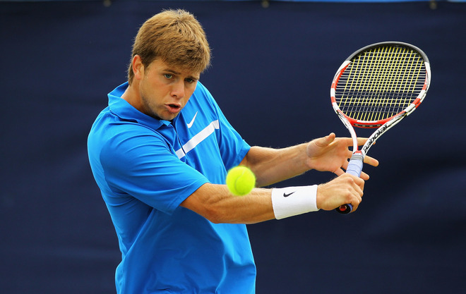 Ryan Harrison Of The United States Of America In Action Against Denis Istomin Of Uzbekistan Getty Images