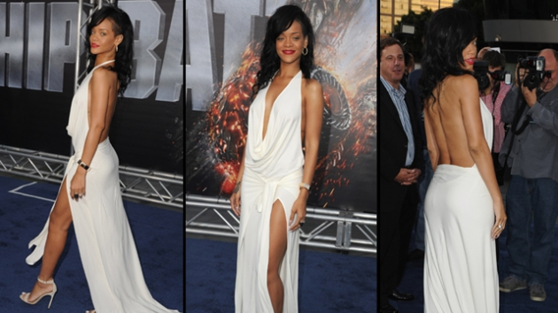 Rihanna arrives at the Los Angeles premiere of 'Battleship' at Nokia Theatre L.A. Live, Los Angeles, on May 10, 2012 -- Getty Premium