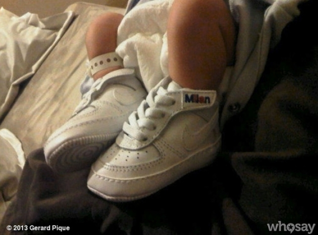 Shakira and Gerard Pique's newborn son Milan's feet seen on January 23, 2013 --