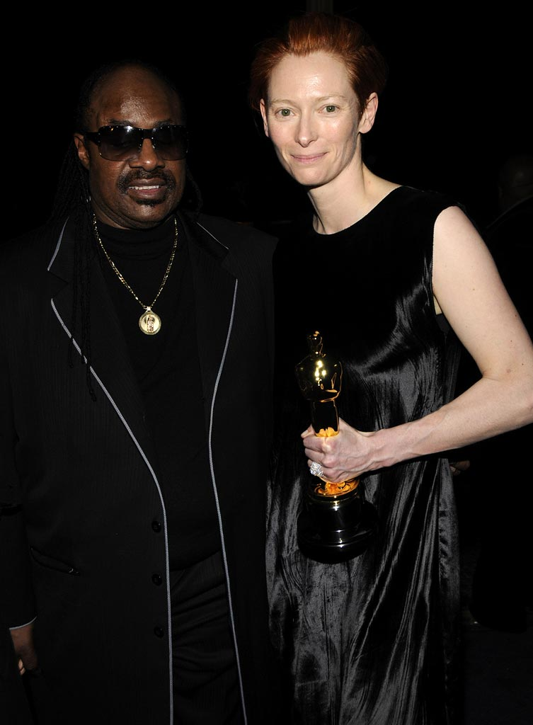 Oscars Prince Party 2008 Stevie Wonder Tilda Swinton