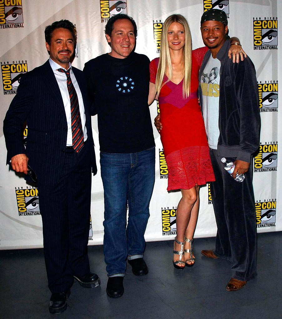 Robert Downey Jr Jon favreau Gwenyth Paltrow Terrence Howard 2007