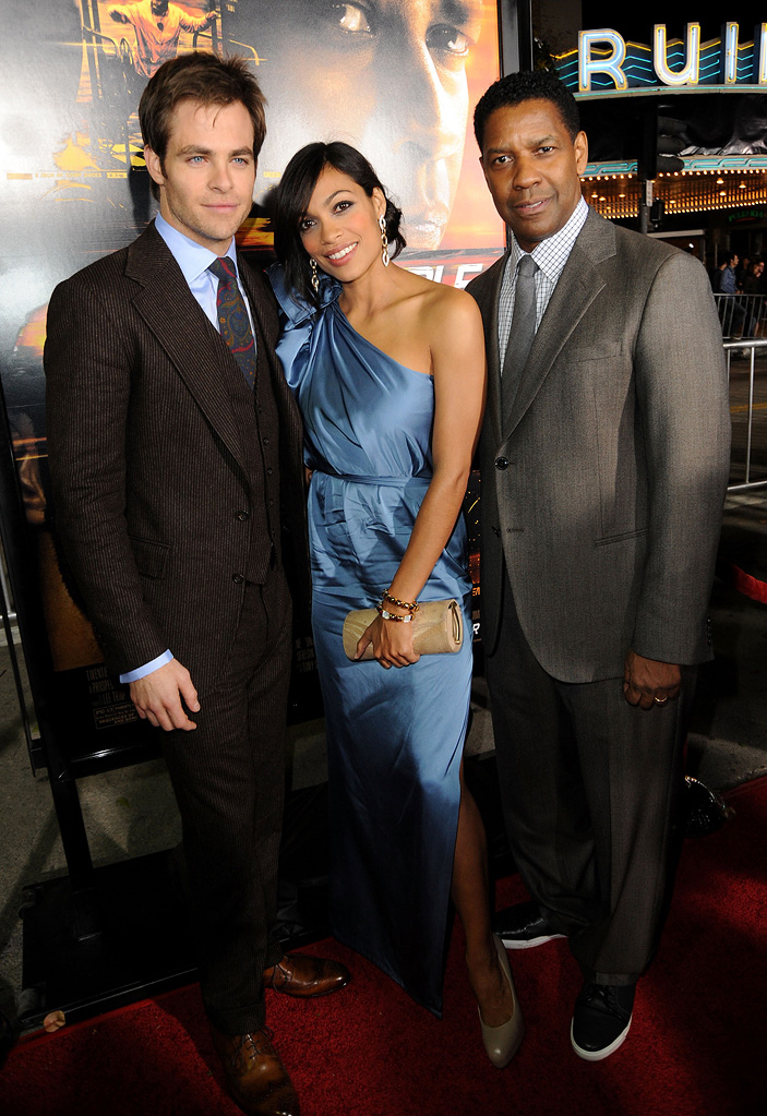 Unstoppable LA Premiere 2010 Chris Pine Rosario Dawson Denzel Washington