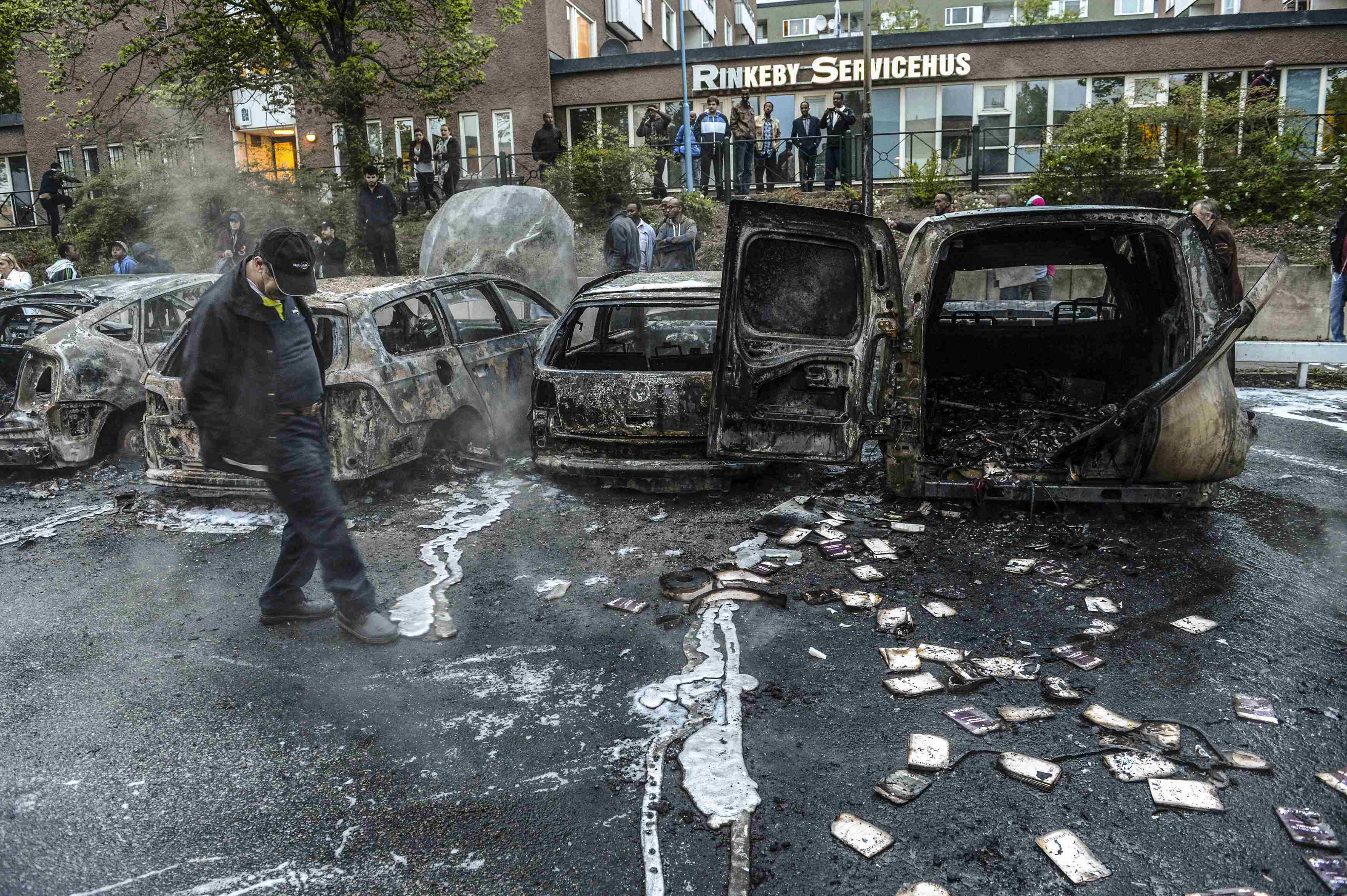 Image result for muslim burning cars sweden