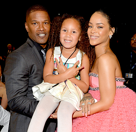 Jamie foxx and daughter annalise bishop with singer rihanna during the