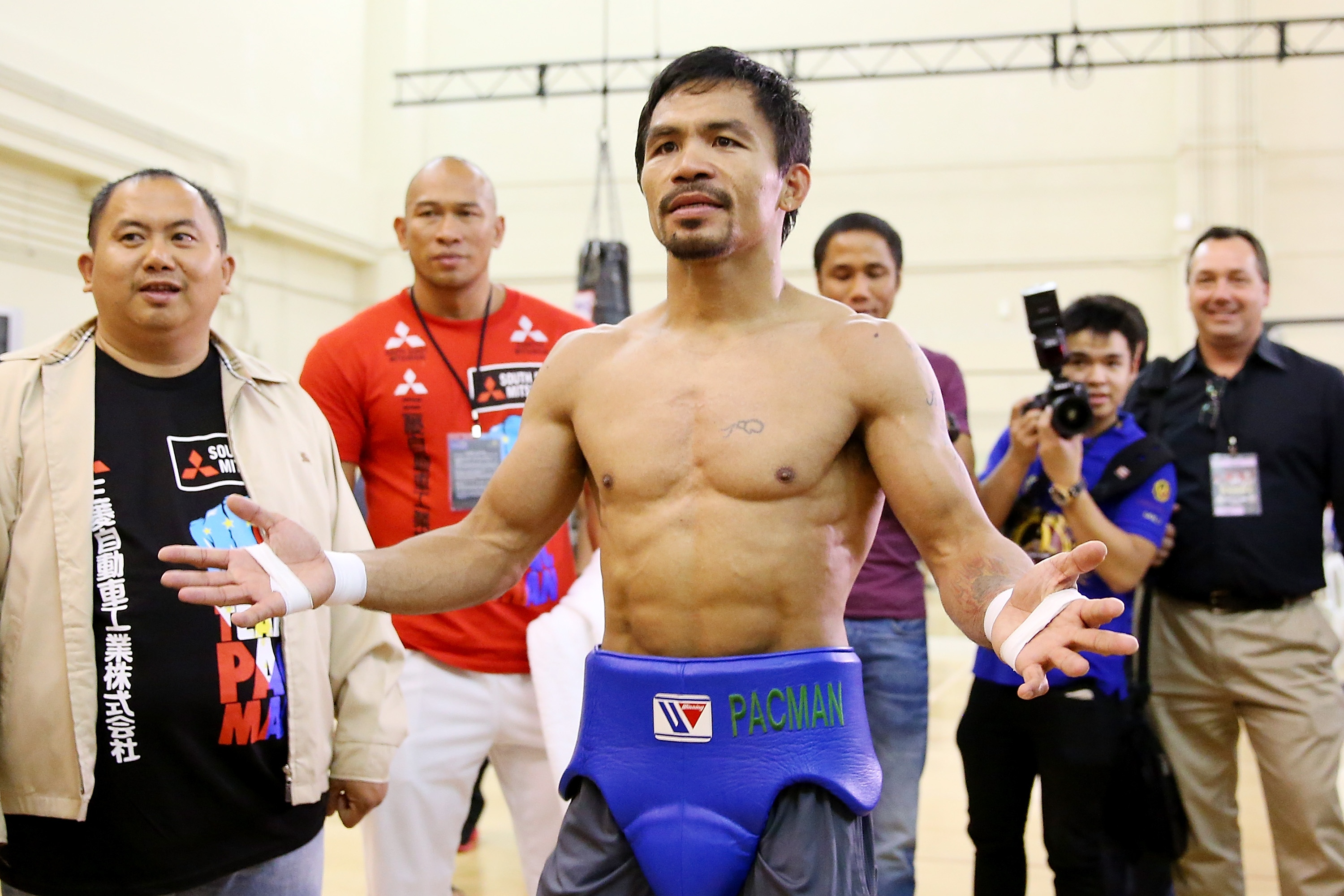 Manny Pacquiao trains during a workout session at The Venetian on Thursday. (Getty)