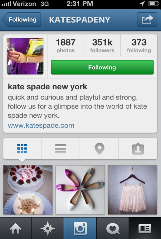 For instagram bio yahoo answers ~ instagram-kate-spade-new-york